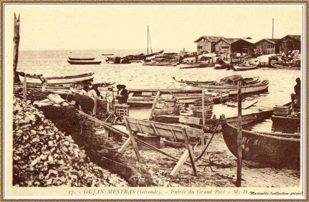 Gujan-Mestras autrefois : Entrée du Port de Larros, Bassin d'Arcachon (carte postale, collection privée)
