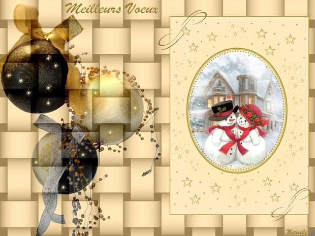 Meilleurs voeux, boules et personnages bonhommes de neige