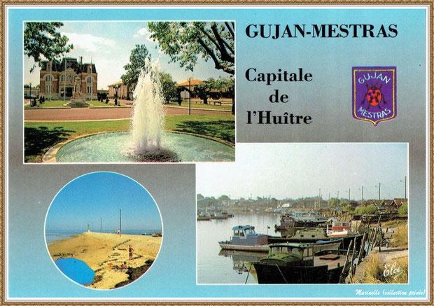 Gujan-Mestras autrefois : Carte postale mutivues 1991, Bassin d'Arcachon (carte postale, collection privée)