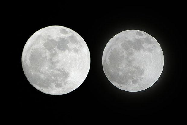 左:2012年5月5日 22:27 東京都小平市。 右;2011年12月10日 栃木県足利市