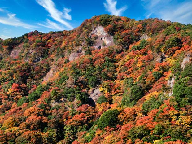 袋田の滝近辺の紅葉