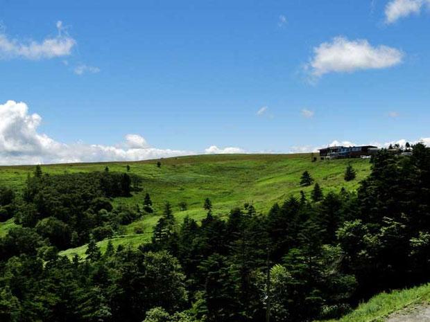 美ヶ原高原  右端に見える建物が山本小屋