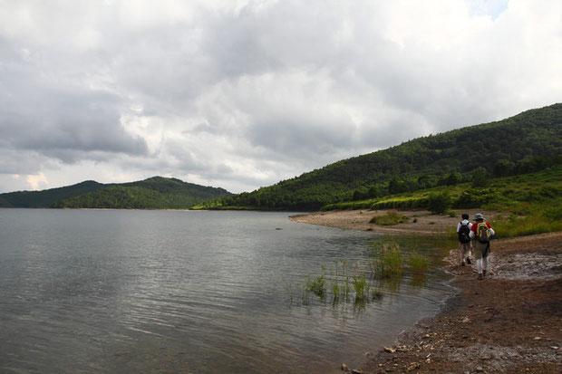 野反湖の水位が高い