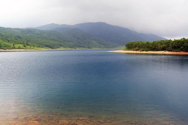 満々と水を湛えた野反湖  湖畔の第1キャンプ場から八間山を望む  2008.07.27