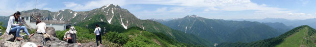 天神山からの眺め。 クリックすると別ウインドウでパノラマ写真が開きます。