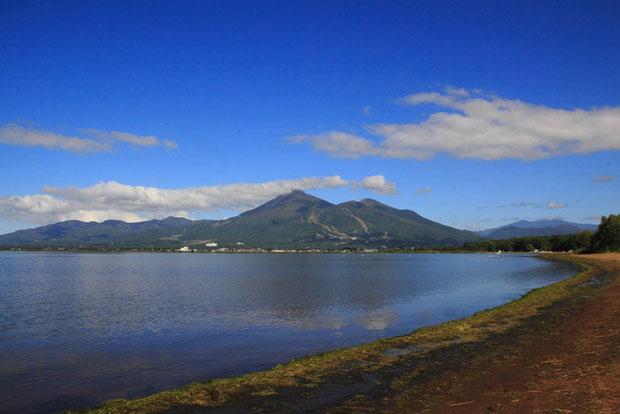 猪苗代湖と会津磐梯山