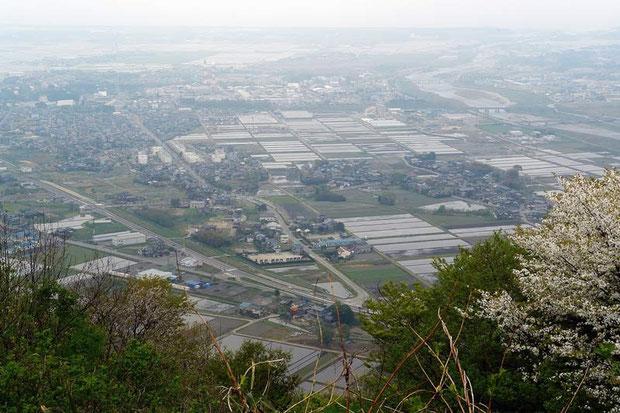 白鳥山山頂からの風景。胎内平野の向こうに日本海が
