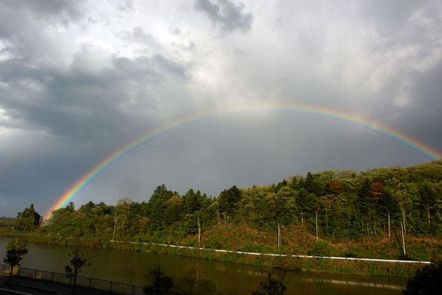 楢葉道の駅より 幸せの虹がかかった!写真では解らないけれど2重なんだよー