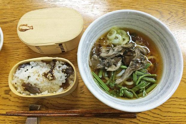 マイタケご飯とマイタケうどん。 マイタケは六合の名産品の一つ(めんぱも)。