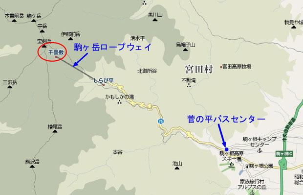駒ヶ根IC〜千畳敷マップ