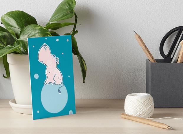 Nilpferd, Flusspferd - blau solo - Galeriedruck bei Redbubble – Illustration Judith Ganter - Illustriertes Kopfkino für Alltagsoptimisten