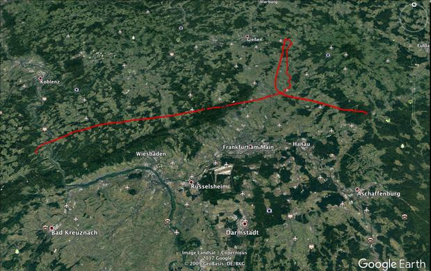 Start Perscheid (oberhalb St.Goar) - Landung Gelnhausen