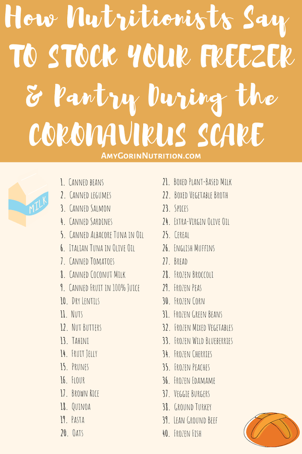 What to stock up for emergency during the coronavirus scare for quarantine cooking? Here's your stock up grocery list & pantry food list to make freezer meals and more easy. #covid #freezer #shoppinglist #grocerylist #nutrition #emergencylist #quarantine