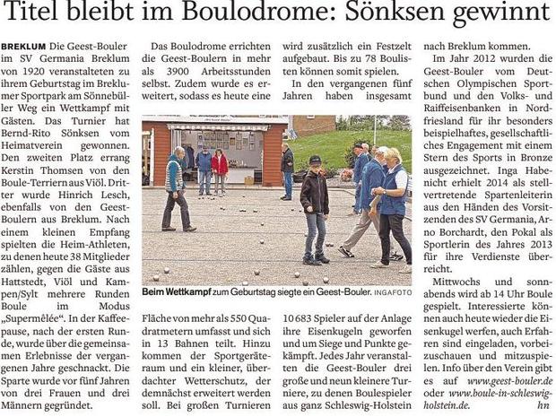 """Quelle: SHZ """"Husumer Nachrichten"""" vom 28.05.2016"""