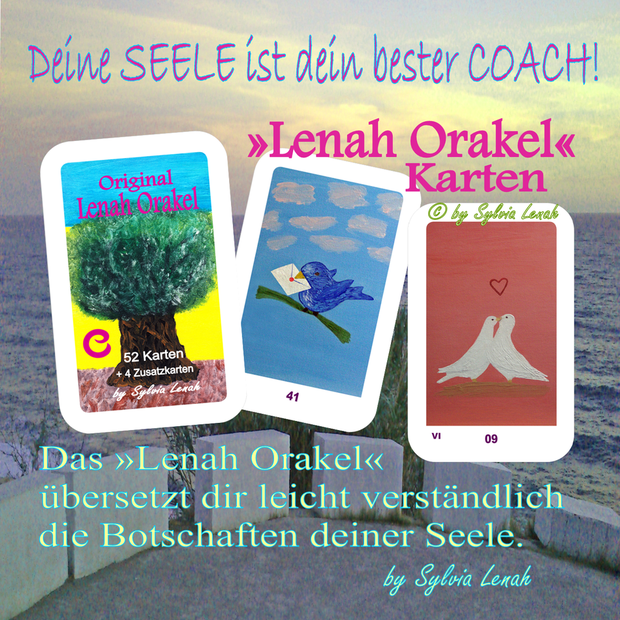 Original Lenah Orakel Karten SET (Kartendeck mit 52 Karten + 4 Zusatzkarten + 3 Beschreibungskarten plus Zugang zum Lenah Orakel Online-Portal ... exklusiv bei www.estilodevida.de