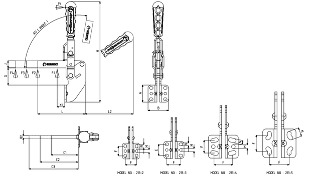 KUKAMET Vertikalspanner/Senkrechtspanner/Kniehebelspanner mit massivem Haltearm u. Winkelfuß