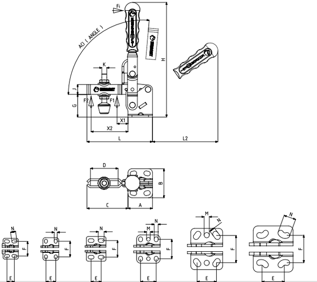 Vertikalspanner bzw. Senkrechtspanner oder Kniehebelspanner mit waagerechtem Fuß