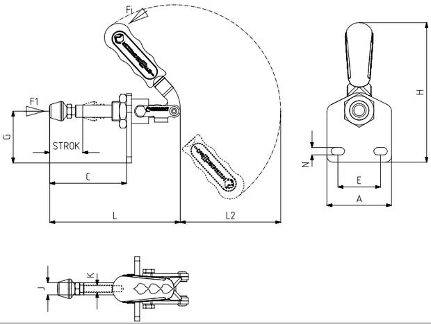 Schubstangenspanner / Schubspanner mit senkrechtem Fuß