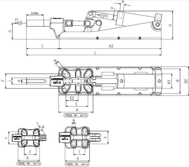 KUKAMET Pneumatischer Schubstangenspanner mit Gusskörper - Befestigung Hinten