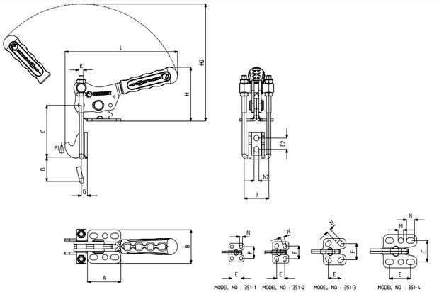 Verschlussspanner / Bügelspanner senkrecht mit waagrechtem Fuß