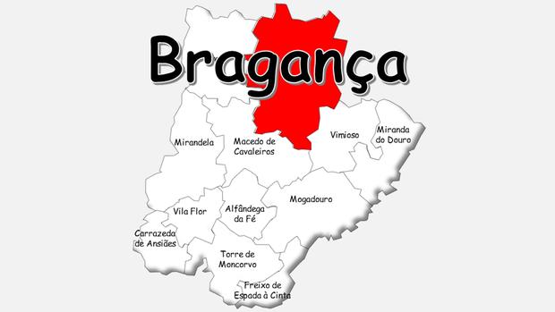 Localização do concelho de Bragança no distrito