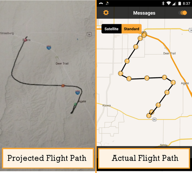 Using predict.habhug.org to figure out the flight path of the weather balloon.
