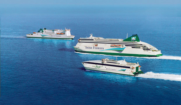 Irish Ferries' fleet. From front to back: Jonathan Swift, Ulysses and Isle of Inishmore.