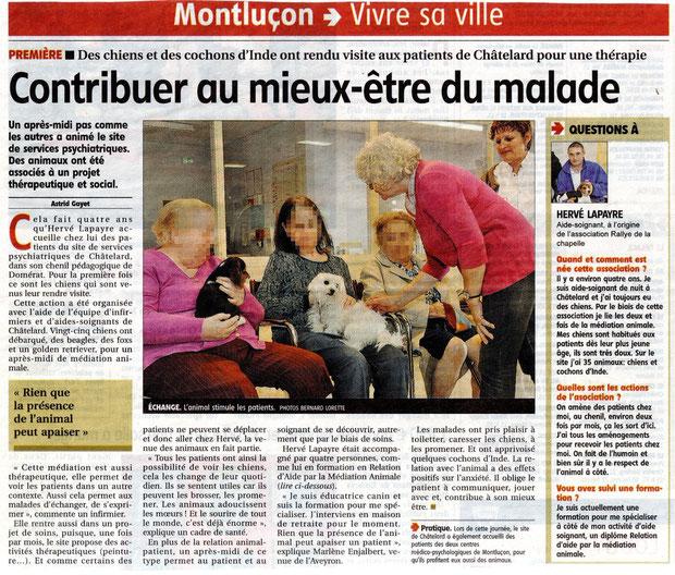 article presse médiation animale