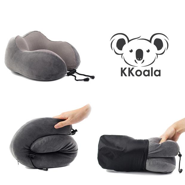 Das KKoala Kissen kann zusammengerollt, in den KKoala Tragbeutel gepackt werden um überall hin mitgenommen werden.