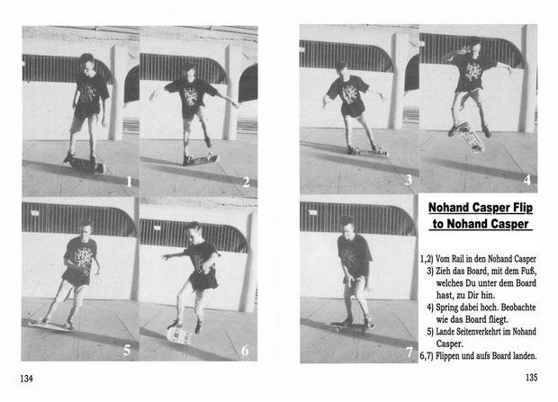 Don Brown, Huntington Beach 1991. Trick: Nohand Casper Flip to Nohand Casper.