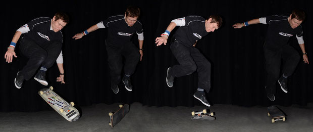 One-eighty-Fingerflip / Railflip / Kickflip / 360°-Shove-It. / Guenter Mokulys.