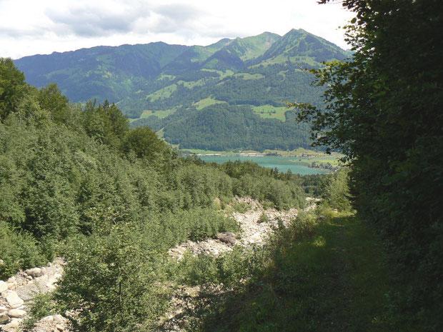 Das Bachbett des Steinibaches mit Blick auf den Sarnersee (rechts im Schatten der Weg auf dem Flussdamm)