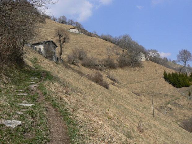 Bergweg im Frühling oberhalb Roncapiano