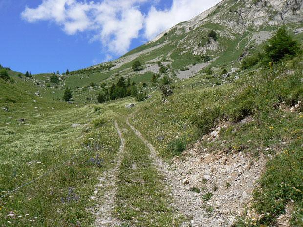 Blick hinauf zum Col de Verne