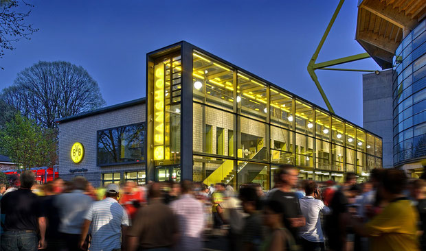 bvb august-lenz-haus signal iduna park borussia dortmund drahtler architekten planungsgruppe architektur glasfassade