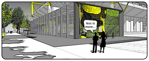 Servicecenter Borussia Dortmund bvb drahtler architekten planungsgruppe dortmund less is more wettbewerb 2012
