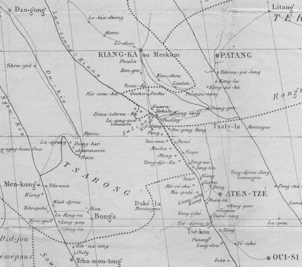 Desgodins (1826-1913), La mission du Thibet de 1855 à 1870. Carte