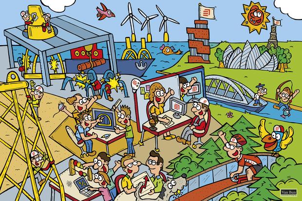 Dirk Van Bun Communicatie en Vormgeving - Gepersonaliseerde illustratie - Smulders - Eiffage - Staalconstrucitebedrijf- ontwerp - reclame - Lommel