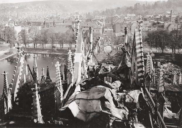 Вид купола церкви после бомбёжки 1944 года (credits: Evangelische Johannesgemeinde Stuttgart)