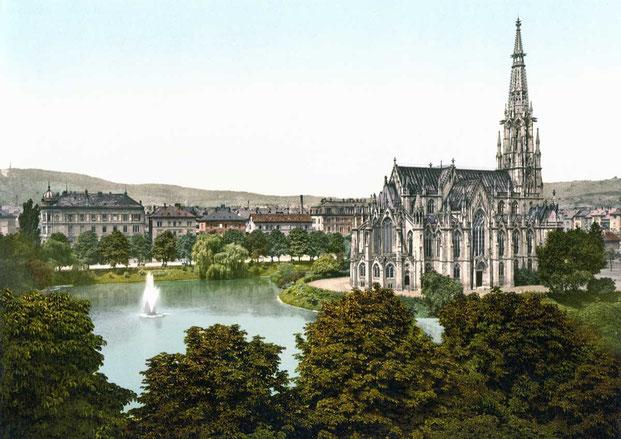 Вопреки канонам церковь вытянута на на юго-восток (credits: Johannesgemeinde Stuttgart)