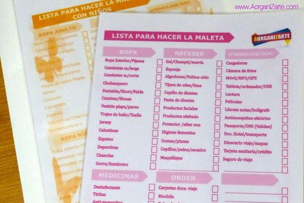 Listas para preparar las maletas - www.AorganiZarte.com