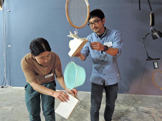 Internationale Künstler: Die Japaner Kiyomi und Tetsuhiro Uozumi leben in Berlin und stellen zurzeit im Rahmen der ostrale 2016 in Dresden aus. Foto: C. Schumann, 2016