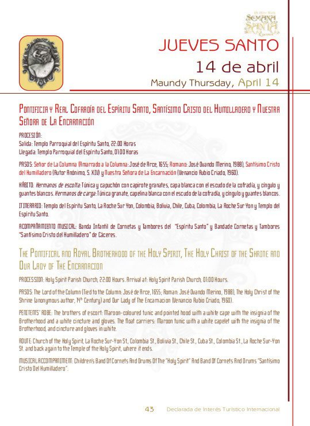 Programa y Procesiones de la Semana Santa de Cáceres