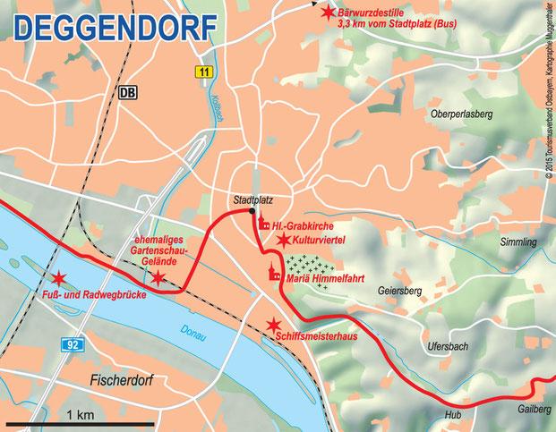 Stadtplan Deggendorf mit Wegeverlauf Donau-Panoramaweg