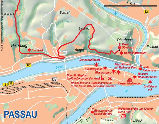 Stadtplan Passau mit Wegeverlauf Donau-Panoramaweg