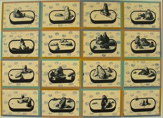 """""""16 exotische Landschaften"""" , 2008, 200 x 280 cm, Öl auf Karton"""