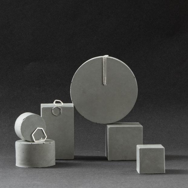 Geometric Concrete Prism Retail Display Set BY PASiNGA