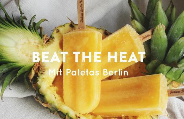 Beat the heat Ananas Orange Eis am Stiel oder Popsicles von Paletas Berlin