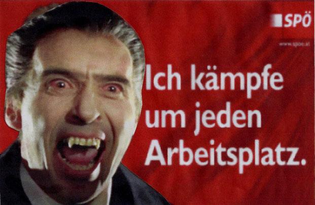 Christopher Lee als Präsidentschaftskandidat der SPÖ Rudolf Hundstorfer Dietmar Füssel Rudi Plakat Sozialminister