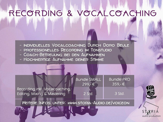 STORIA audio production, VOICE ON, Recording & Vocalcoaching, Gesangsaufnahme, CD-Aufnahme, CD aufnehmen, Vocals, Coaching, Tonstudio Münsterland, Westmünsterland, Rabattaktion, Weihnachtsgeschenk